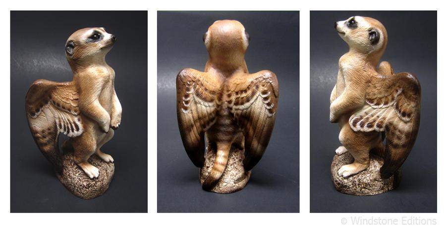 Winged meerkat  sculpture by Reptangle