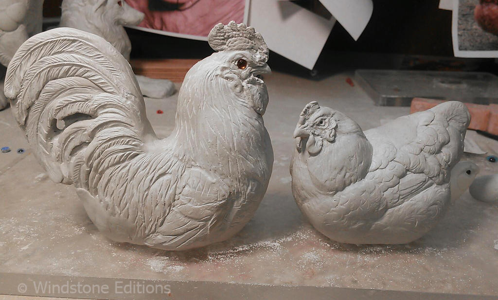 rough clay Rooster And Hen by Reptangle