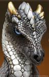 Silver Secret Keeper dragon, face