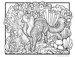 Kirin coloring book page