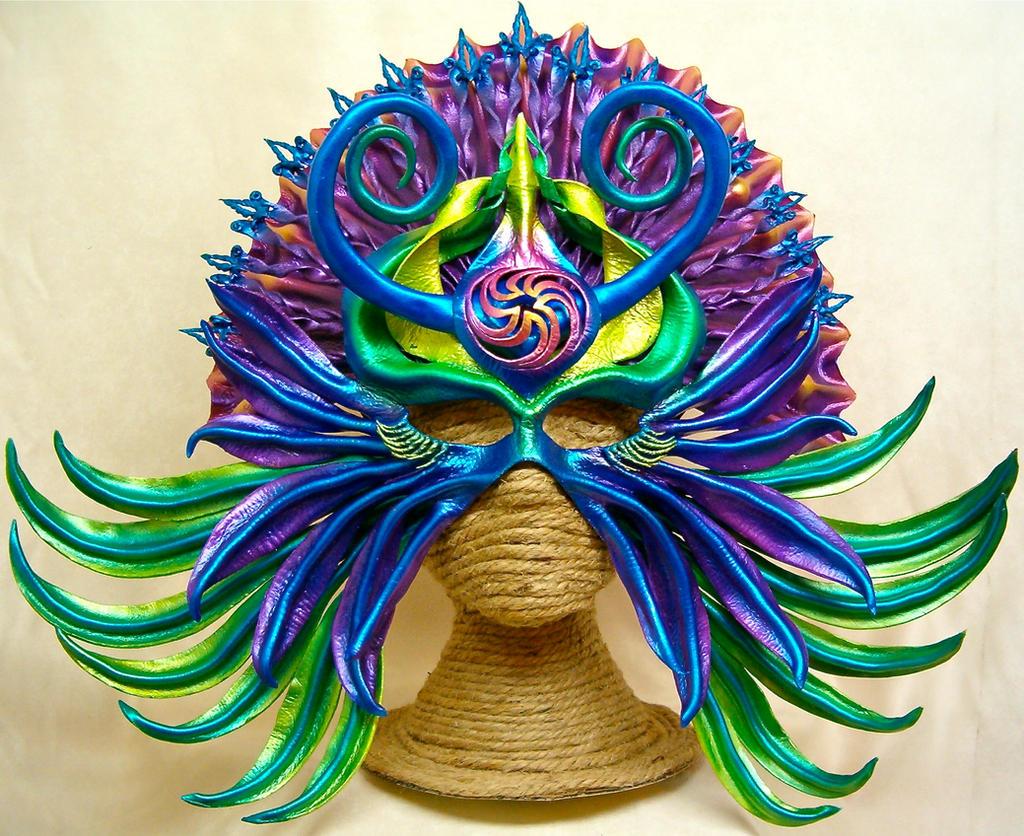 Aztec Goddess - leather art mask by RiverGypsyArts