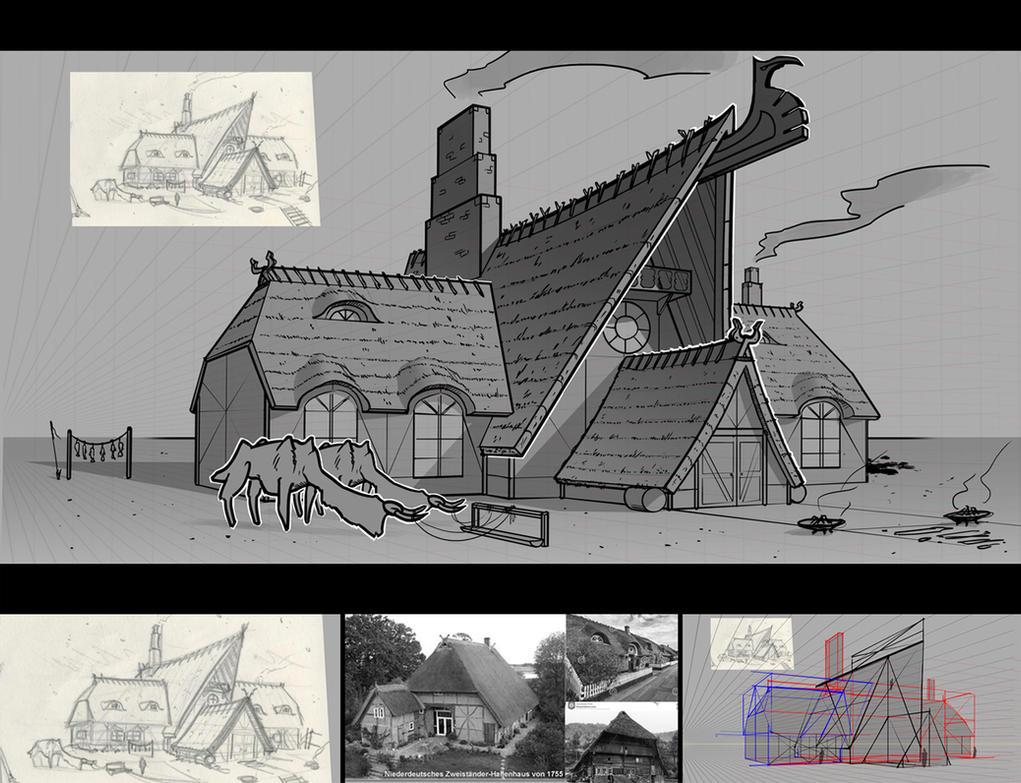 Line Art House : Viking house lineart by undercurrent on deviantart