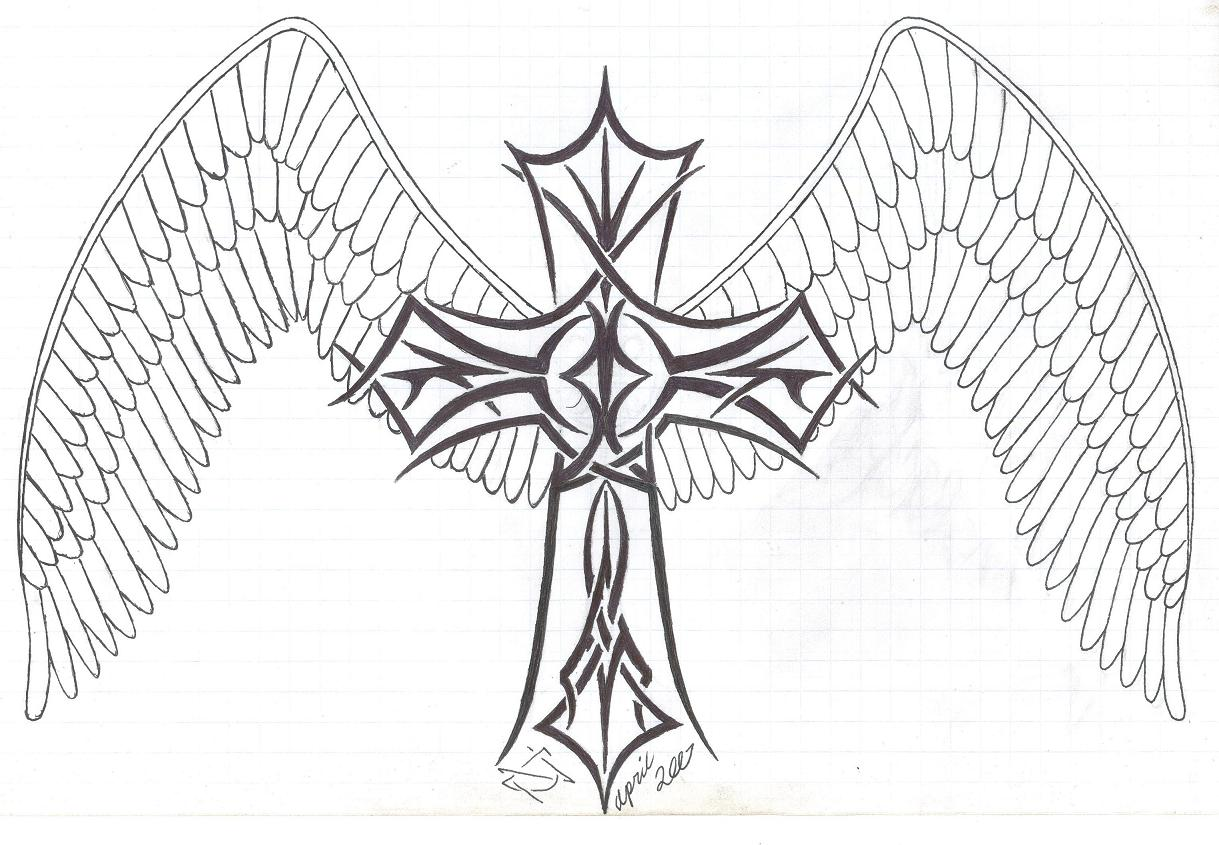 The gallery for easy drawings of broken hearts with wings for Hearts and crosses coloring pages