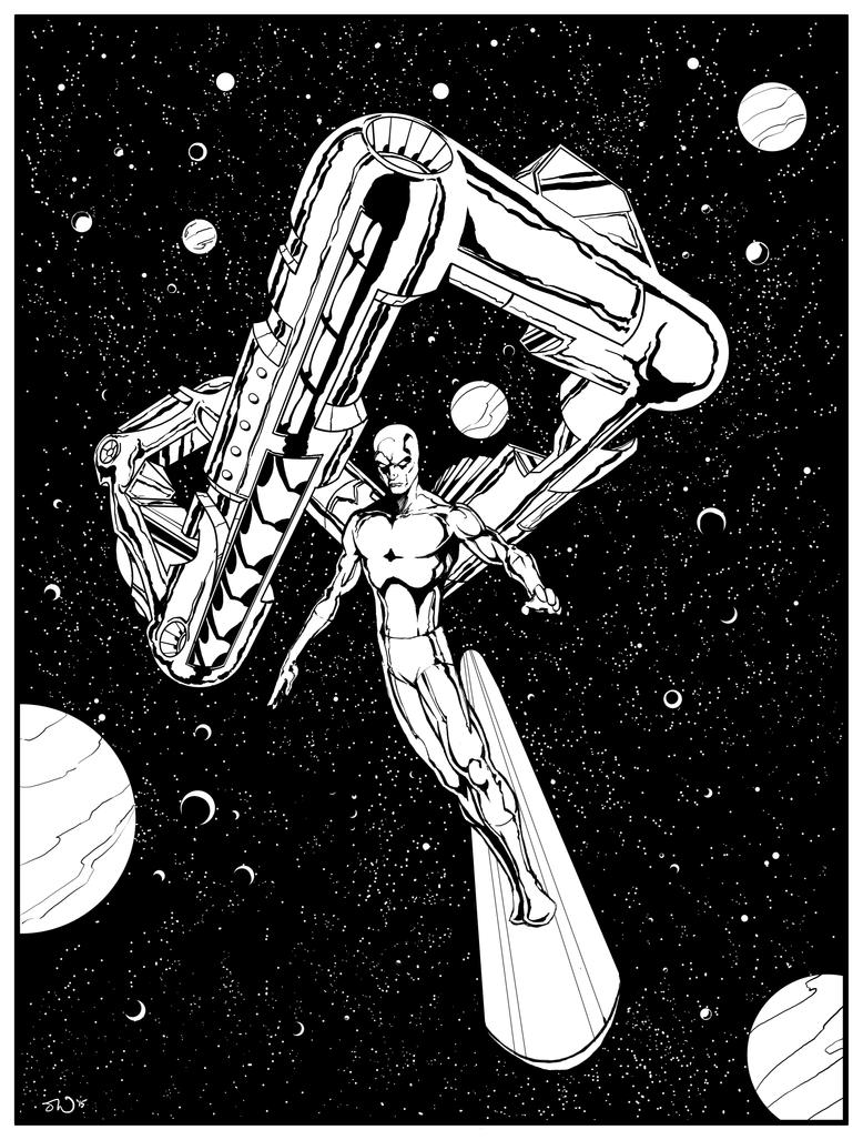 Silver Surfer and Galactus' ship by judsonwilkerson