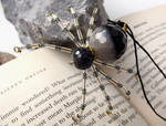 Beaded Christmas Spider Ornament -- Black/Clear