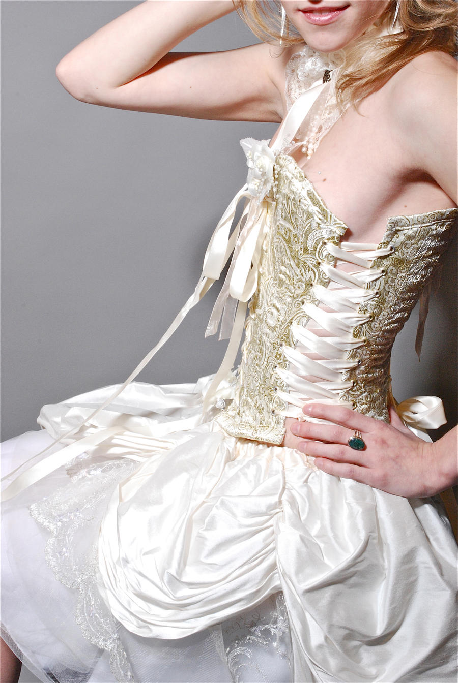 Corsetted Wedding Dress Side by lovedthePilgrimSoul
