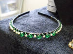 Headband with green beads