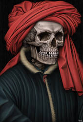 Portrait of a skelly in a red turban