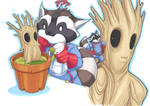 raccoon and plant