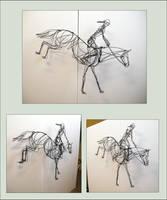 Horse Jump - 3d wire sculpture by akuinnen24
