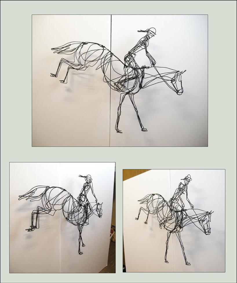 Horse jump 3d wire sculpture by akuinnen24 on deviantart for 3d wire art