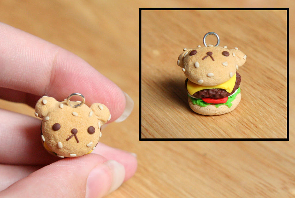 Rilakkuma Bear Burger Clay Charm by RawrRufus