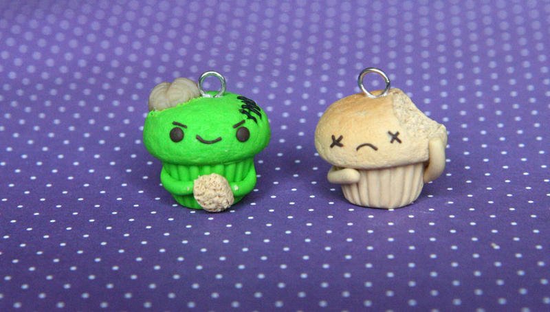 Zombie Cupcake Clay Charm (video tutorial) by RawrRufus