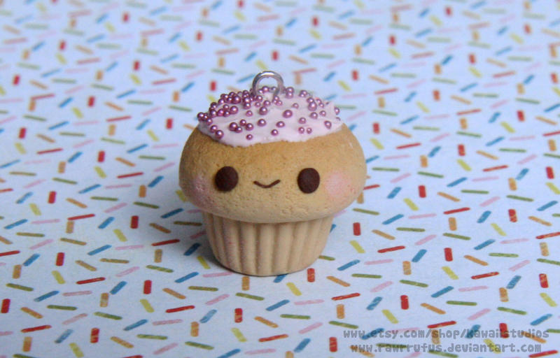 Kawaii Strawberry Sprinkle Cupcake Charm by RawrRufus