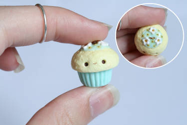 Kawaii Spring Cupcake Charm - Polymer Clay by xoxRufus