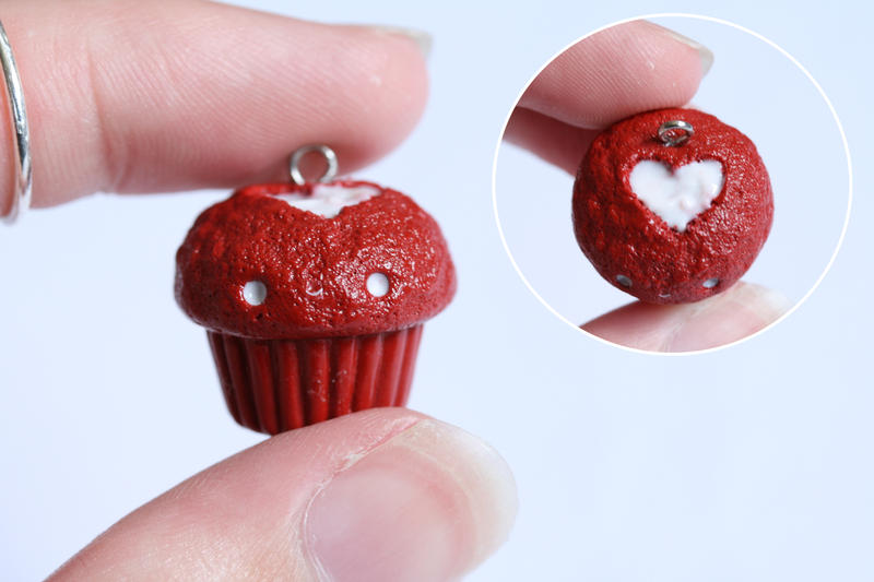 Kawaii Red Velvet Cupcake Charm - Polymer Clay by RawrRufus