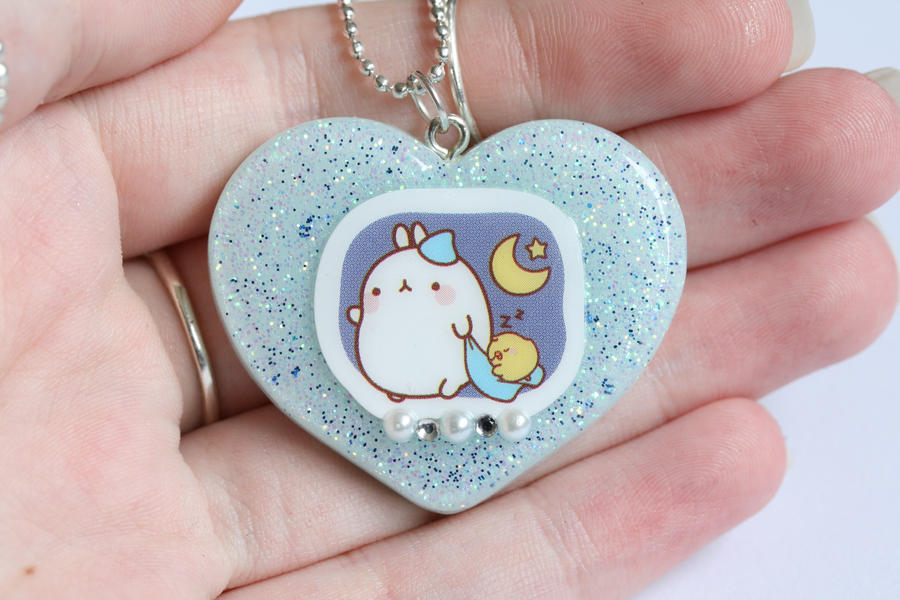Blue Molang Bunny Resin Necklace by RawrRufus