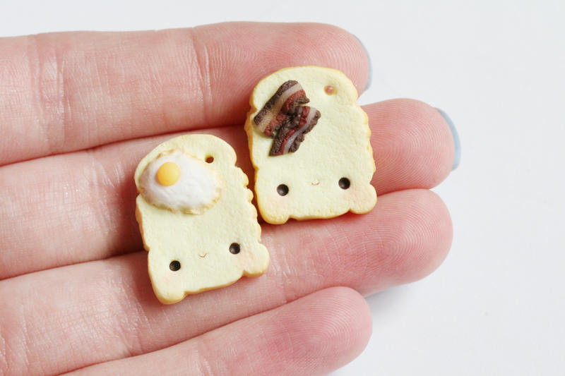 Eggs and BaconToast Polymer Clay Friendship Charms by RawrRufus