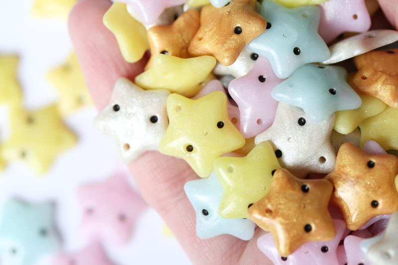 Kawaii Polymer Clay Star Charms by RawrRufus