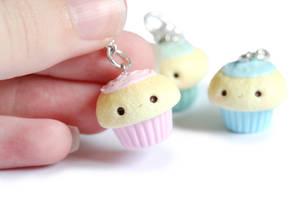 Kawaii Cupcake Polymer Clay Charms by xoxRufus