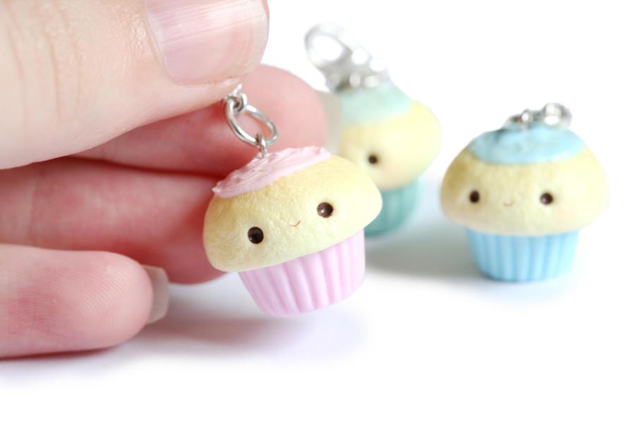 Kawaii Cupcake Polymer Clay Charms by RawrRufus