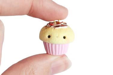 Chocolate Strawberry Cupcake Charm- Polymer Clay