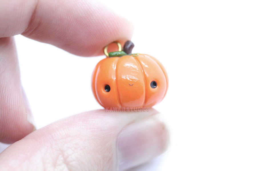 Kawaii Halloween Pumpkin- Polymer Clay Charm by xoxRufus