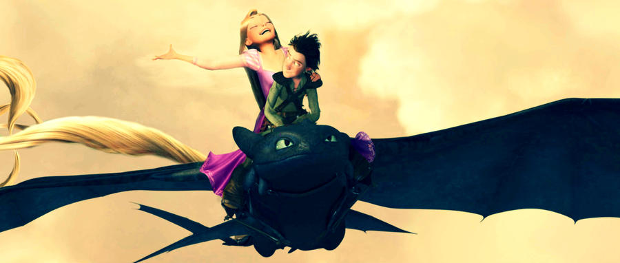 Rapunzel and Hiccup by Robono