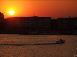 sunset in Mangalia harbour by cornelvoicu1989