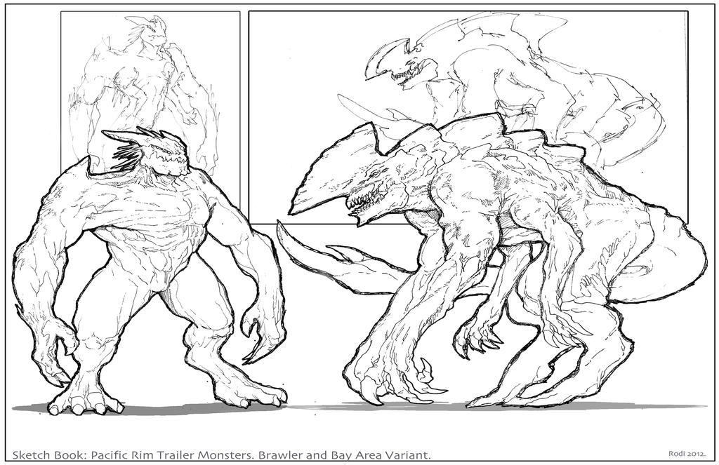 pacificrim trailer monsters sketchbook by dezarath on