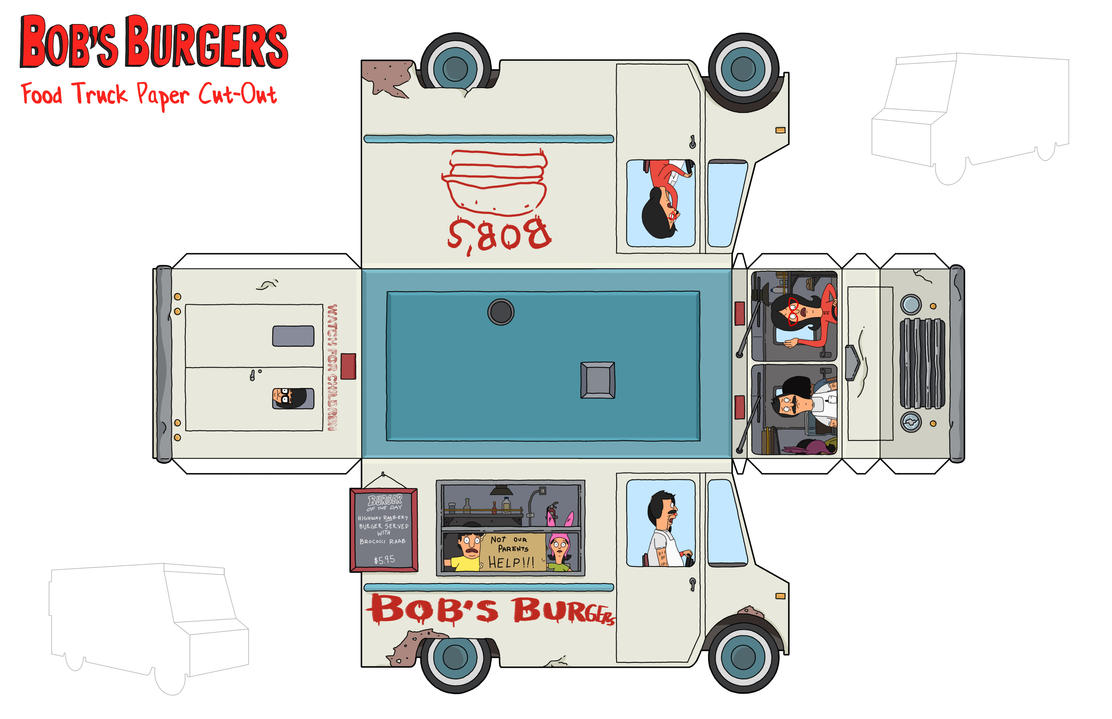 Bob's Burgers Food Truck Paper Toy by thisisanton