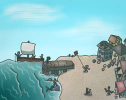 Village on a beach (scene drawing) by HorseyGator