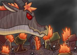Burning Village (digital drawing)