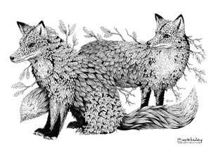 Leaf Foxes - Animal and Bird Ink Collection