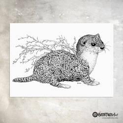 Leaf Weasel - Animal and Leaf Ink Collection