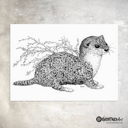 Leaf Weasel - Animal and Leaf Ink Collection