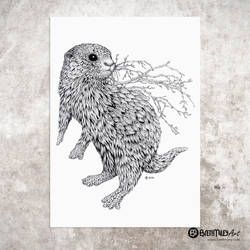Leaf Otter - Animal and Bird Ink Collection