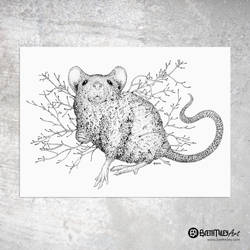 Leaf Mouse - Animal and Bird Ink Collection