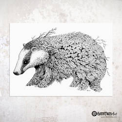 Leaf Badger - Animal and Bird Ink Collection
