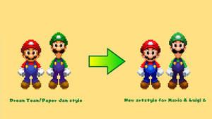 Mario and Luigi 6 sprite style comparison