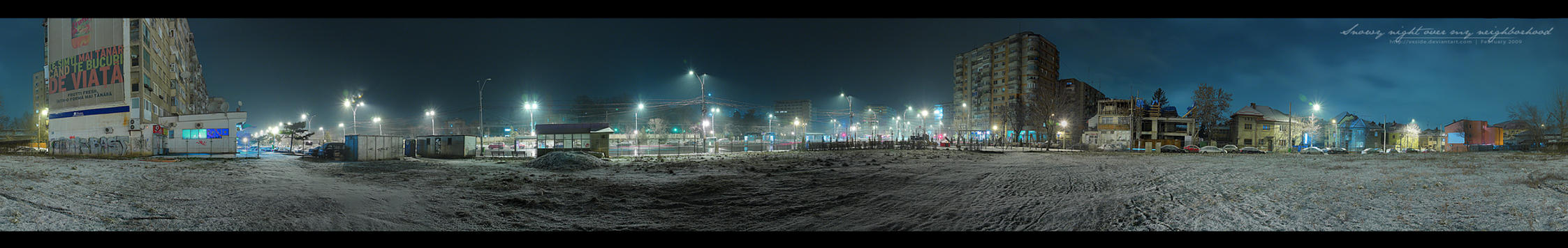 Snowy night - 360 Pano RAW by vxside