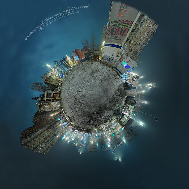 Snowy night - Tiny Planet v1 by vxside