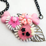 Pink Girly Skull Collaged Neck
