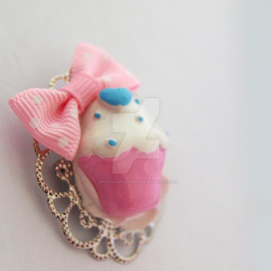 cupcake brooch by AndyGlamasaurus