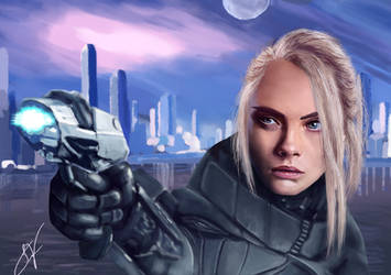 Cara Delevigne as Laureline (Valerian and etc...) by SareBearArt