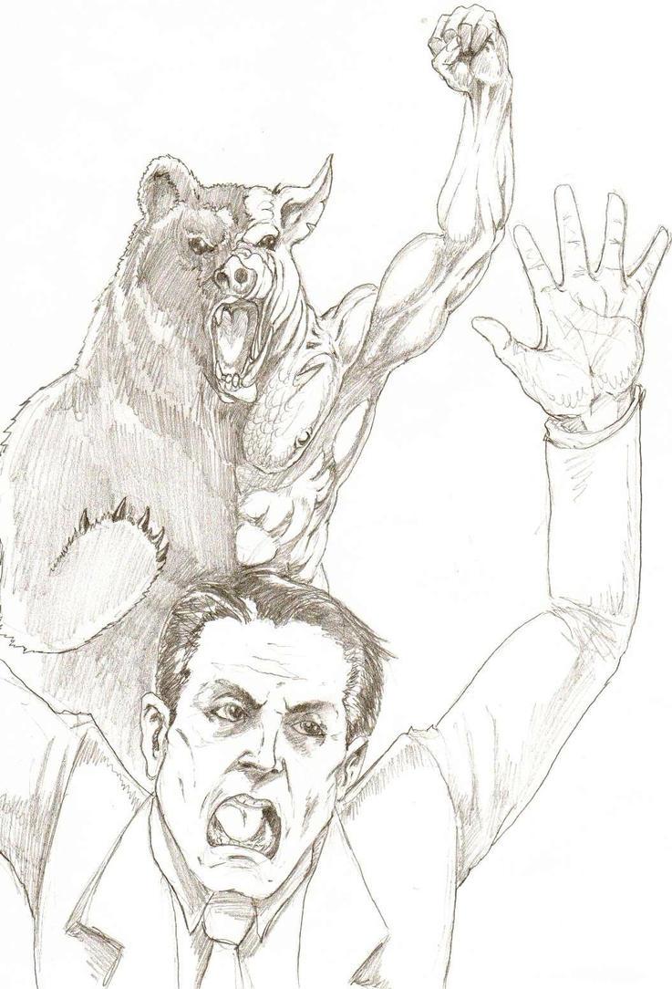 Al Gore VS. Manbearpig by Skorp77