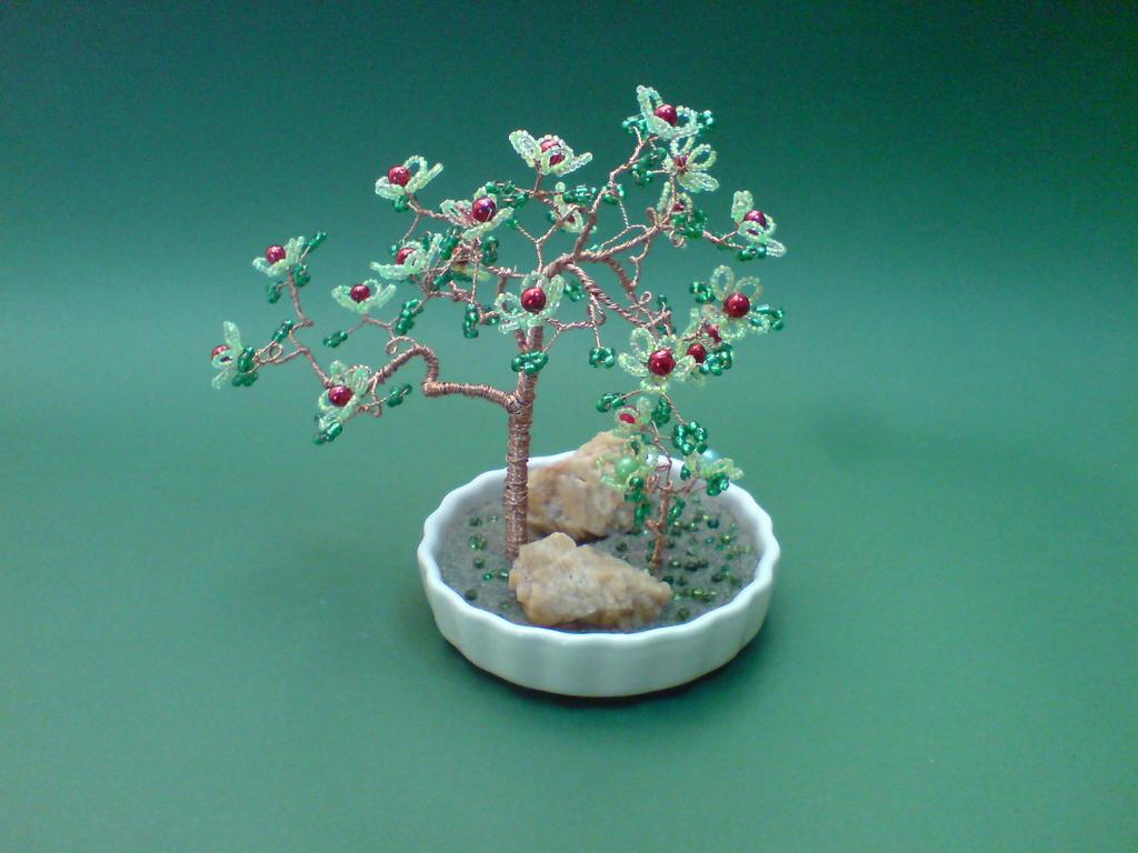 Bonsai Wire Tree Sculpture Beaded Flowers by sinisaart on DeviantArt