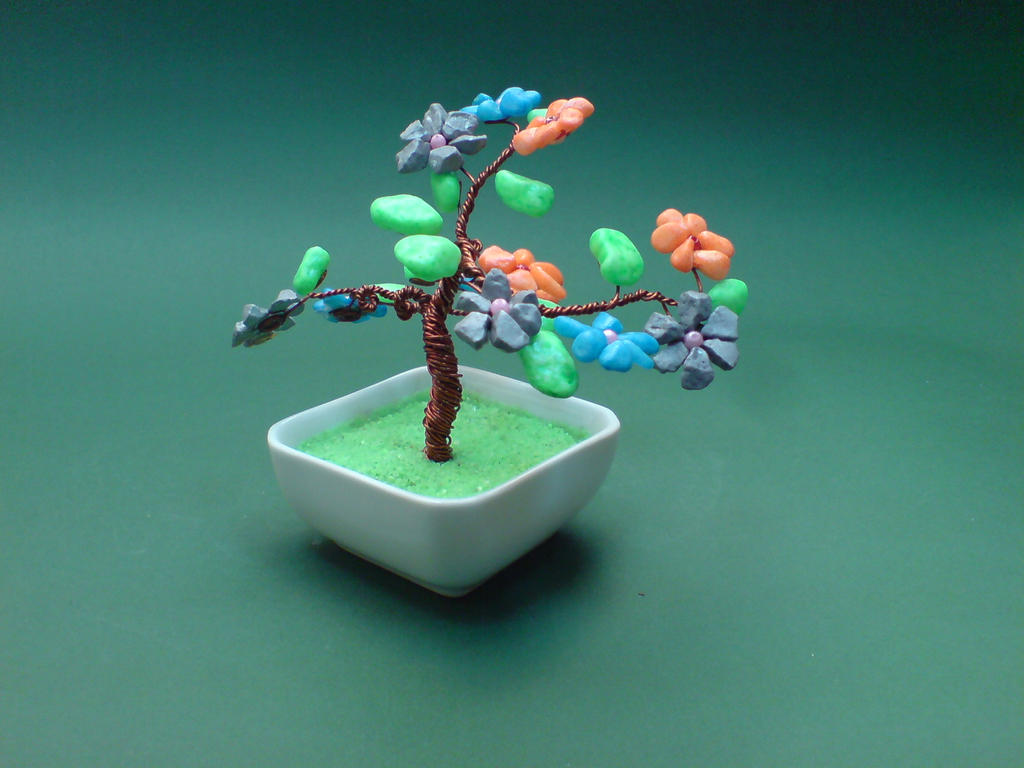 Bonsai Wire Tree Sculpture Stone Gems by sinisaart on DeviantArt