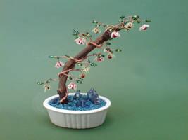 Bonsai Wire Tree Sculpture Beaded Flowers by sinisaart