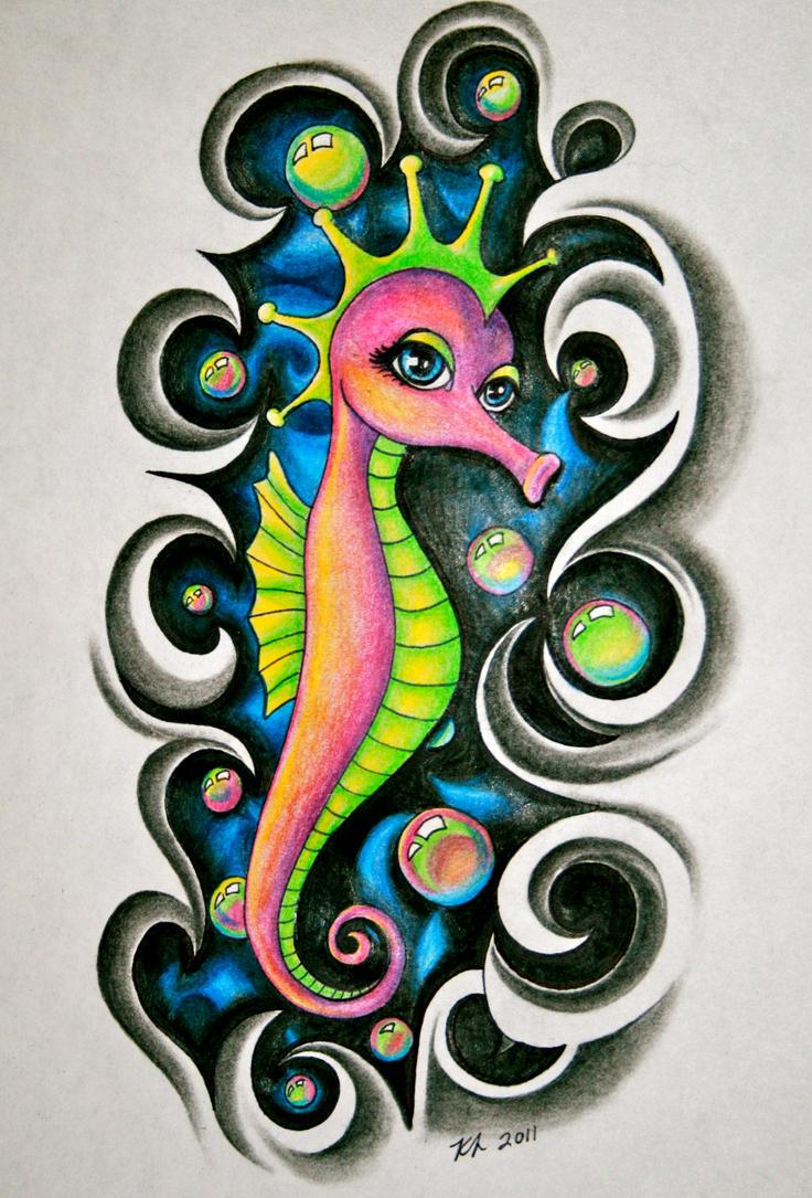 Seahorse by knezak on deviantart for Seahorse tattoo designs